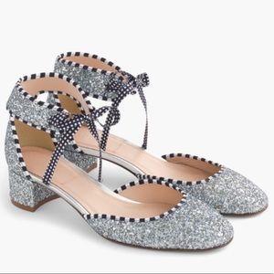 J. Crew Glittery Ankle Tie Heels 6